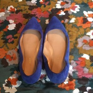 AUDREY BROOKE Royal Blue Suede Pointed Flats